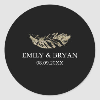 Glitter Feather Wedding Sticker