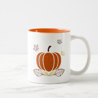 Glitter Filled In Pumpkin Products Two-Tone Coffee Mug