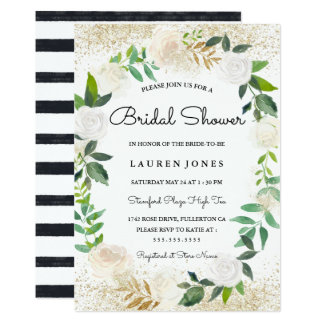 Glitter Floral Wreath Bridal Shower Invitation