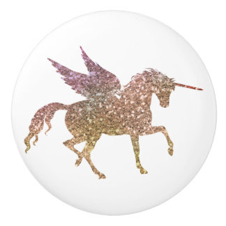 Glitter Flying Unicorn Magical Sparkle Fantasy Ceramic Knob