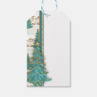 Glitter Gold and Green Border with Christmas Trees Gift Tags