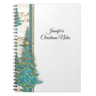 Glitter Gold and Green Border with Christmas Trees Spiral Notebook