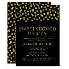 Glitter Gold & Black Confetti Sweet Sixteen Party Card