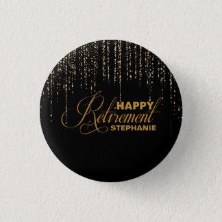 Glitter, Gold & Black Retirement Party Favor 1 Inch Round Button