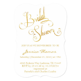 Glitter Gold Calligraphy Bridal Shower Invitation