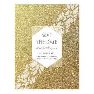Glitter Gold Elegant Save the Date Postcard