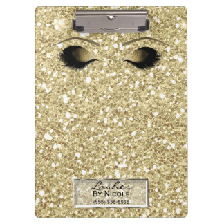 Glitter Gold Makeup Eyes Lashes Glam Personalized Clipboard
