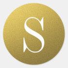 Glitter Gold Monogram Envelope Seal