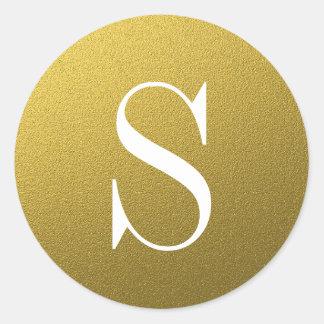 Glitter Gold Monogram Envelope Seal Round Sticker