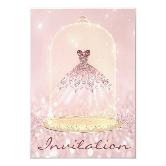 Glitter Gold Pink Diamond Dress Sweet 16th Card