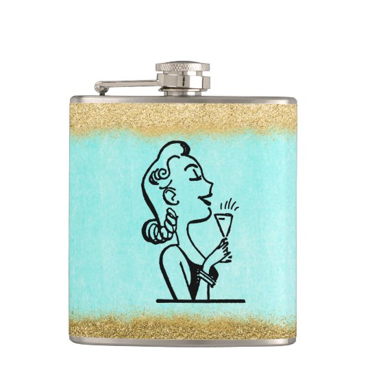 Glitter Gold Retro Woman Bridesmaid Gift Hip Flask