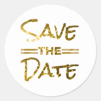 Glitter Gold Save the Date Seal Round Sticker