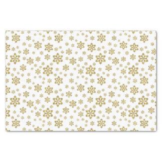 Glitter Gold Snowflakes on White Tissue Paper