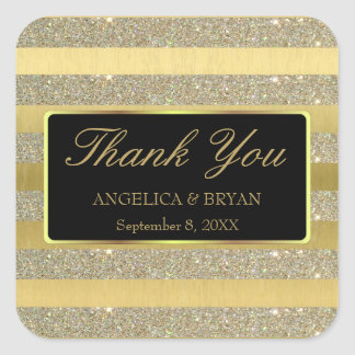 Glitter & Gold Stripes Wedding Thank You Sticker