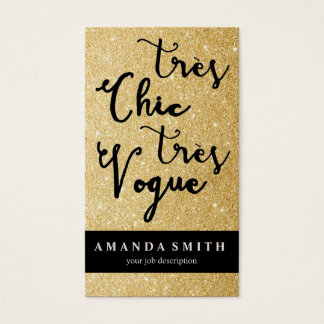 Glitter Gold Tres Chic Fashion Boutique Model Business Card