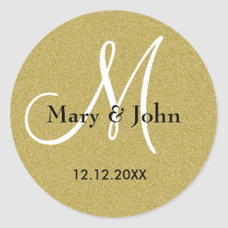 Glitter Gold Wedding Monogram Seals Round Sticker