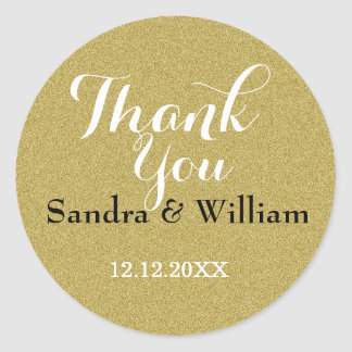 Glitter Gold Wedding Thank You Seals