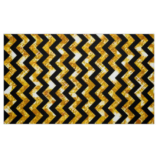 Glitter Golden and Black Chevron Fabric