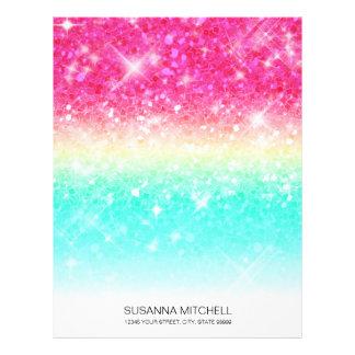 Glitter Gradient Pink Teal ID433 Letterhead