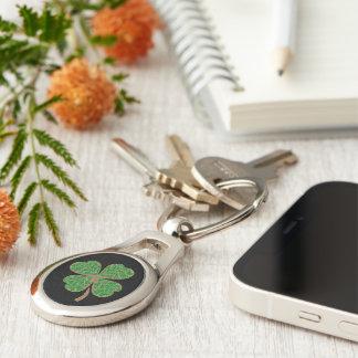 Glitter Green Lucky Leaf - Happy Day monogram Keychain