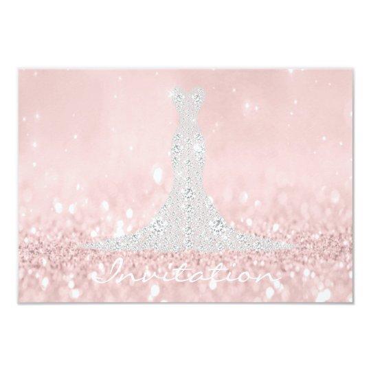 Glitter Grey Pink Diamond Crystals Bridal Dress Card