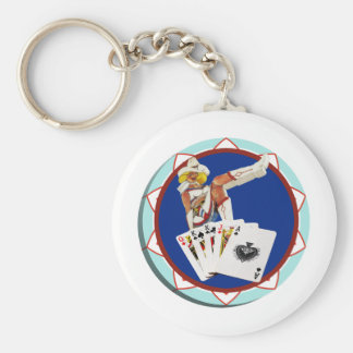 Glitter Gulch Sally Poker Chip Keychain