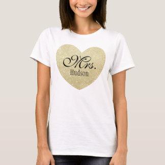Glitter Heart-Print Personalized Mrs T-Shirt
