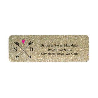 Glitter Heart with Arrows Wedding Address Label
