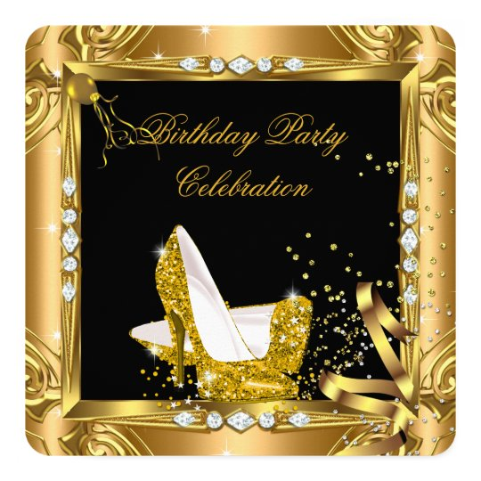 Glitter High Heel Shoes Yellow Gold Black Party Card