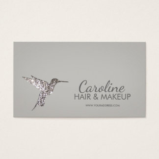 Glitter Hummingbird Hair & Makeup Minimalist Card