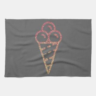 Glitter Ice Cream Cone Kitchen Towel