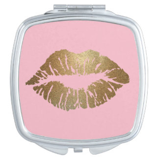 Glitter Kiss Pink Compact Mirror Square