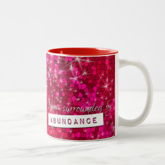 Glitter Law Of Attraction Abundance Affirmations Two-Tone Mug