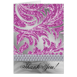 Glitter Leaves Thank You Card Pink Silver