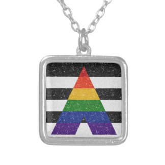 Glitter LGBT Ally Pride Flag Silver Plated Necklace