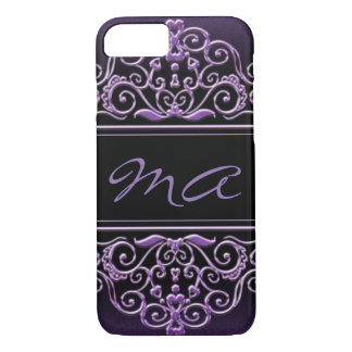 Glitter Lilac Initials iPhone 7 Case
