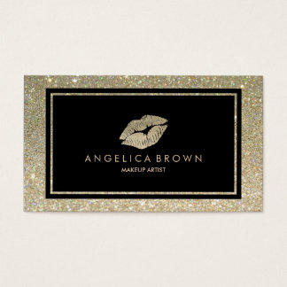 Glitter Lips Makeup Artist Business Card