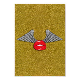 Glitter Lips with Wings Personalized Announcements