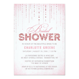 "Glitter Look Bridal Shower Invitation 5"" X 7"" Invitation Card"
