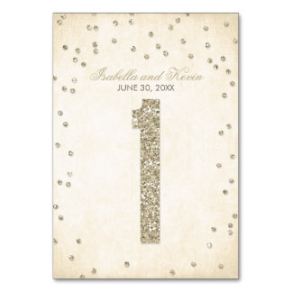 Glitter Look Confetti Wedding Table Numbers - 1