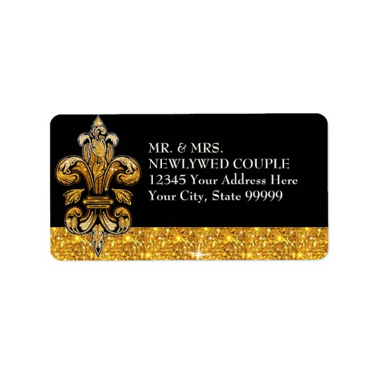 Glitter Look Faux Gold Black Formal Fleur de Lis
