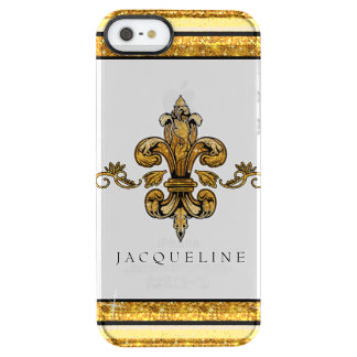 Glitter Look Faux Gold Black French Fleur de Lis Clear iPhone SE/5/5s Case
