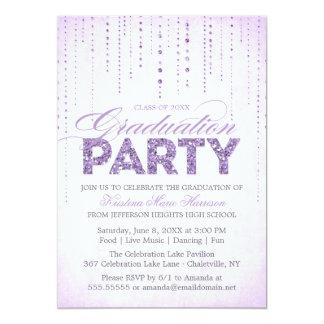 Glitter Look Graduation Party Invitation