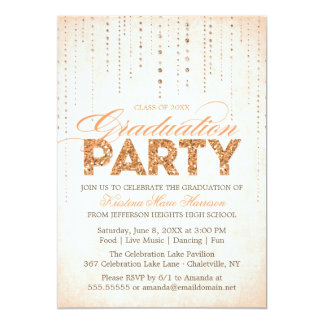 "Glitter Look Graduation Party Invitation 5"" X 7"" Invitation Card"