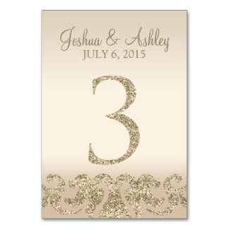 Glitter Look Wedding Table Numbers-Table Card 3