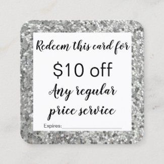 Glitter looking Discount coupon card