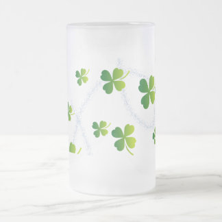 Glitter Lucky Leaf - Happy Day monogram Frosted Glass Beer Mug