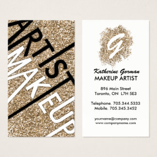 Glitter Makeup Artist Business Cards