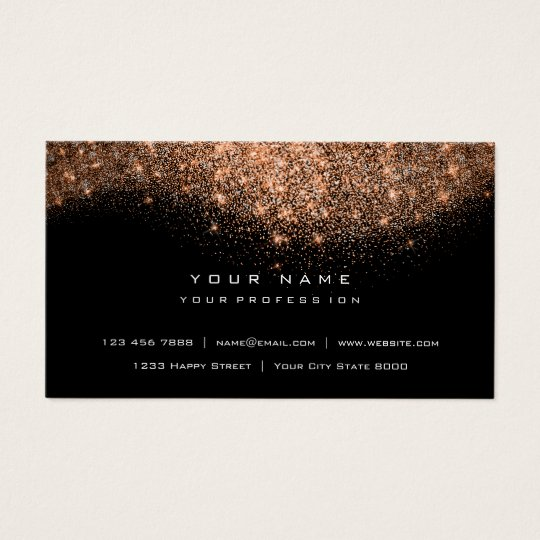 Glitter Makeup Artist Stylist Fashion Copper Black Business Card
