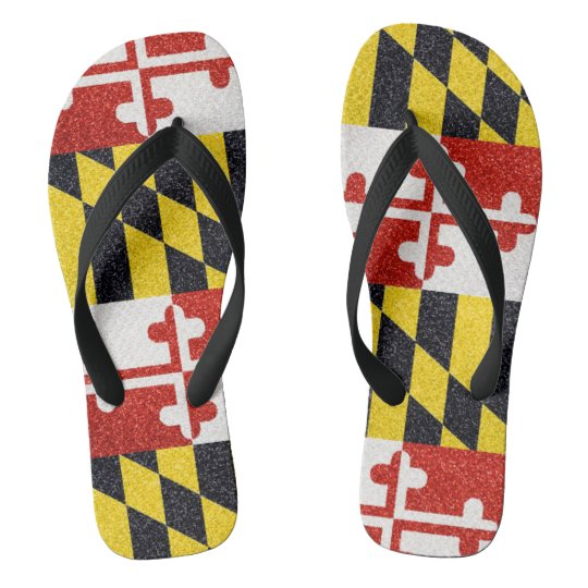 Glitter Maryland flag flip flops